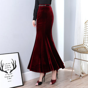A21T Red & Black Color Fishtail Design Long Skirt