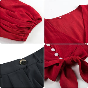A27Q  Two-piece Black Trouser Red Top
