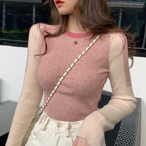 Thickened Long-sleeved Slim-in Contrast Sweater