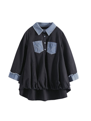 A24R Denim Stitching Pocket Design Shirt