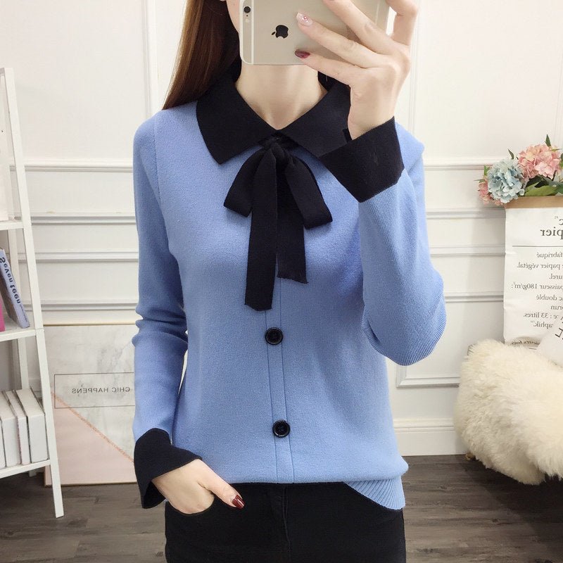Square Collar Lace Bow Top