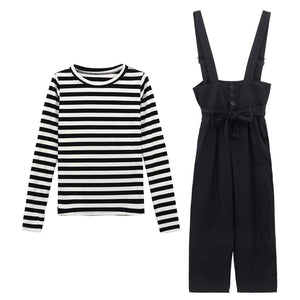 A27G Casual Fashion Striped top Two-piece Suit Top