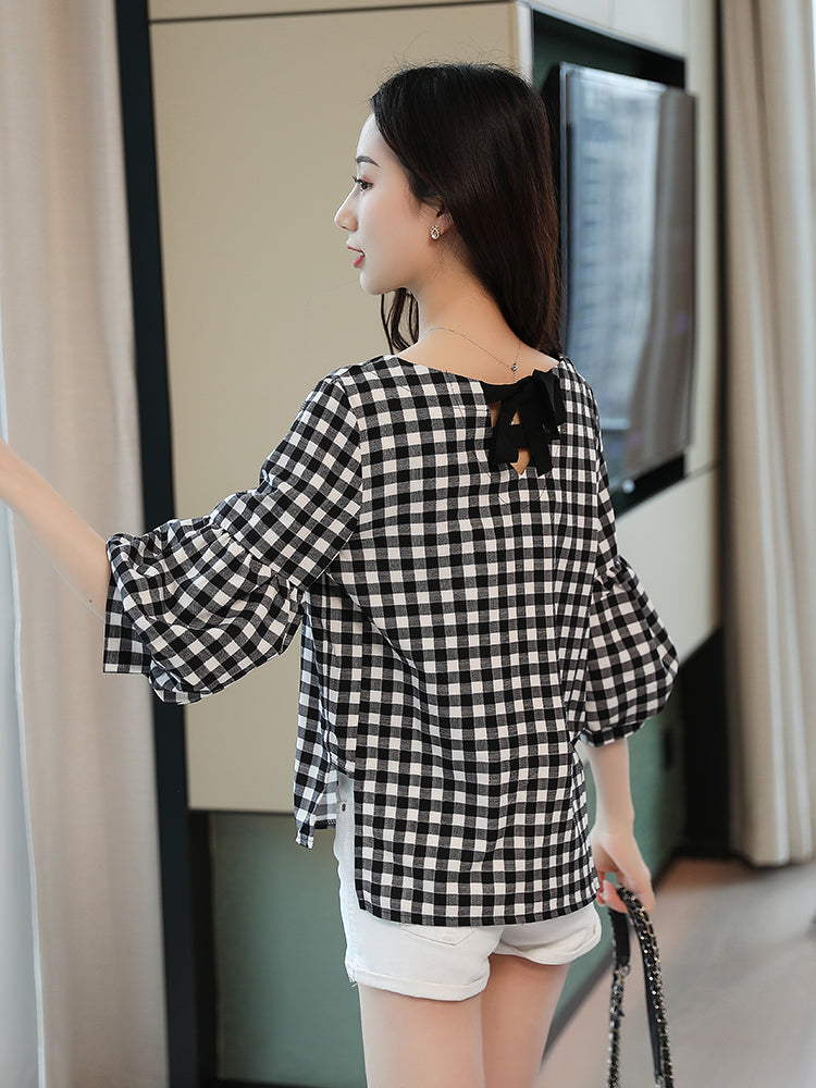 A24Q New Lantern Bubble Sleeve Chiffon Shirt