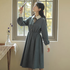Elastic Waist Long-Sleeved Dress