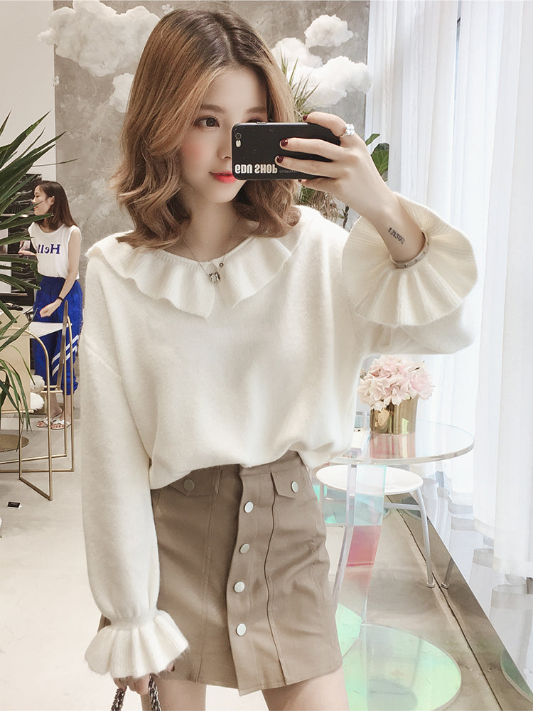 Baby Collar & Sleeve Top-Blouses & Shirts-[korean fashion]-[korean clothing]-[korean style]-SOO・JIN