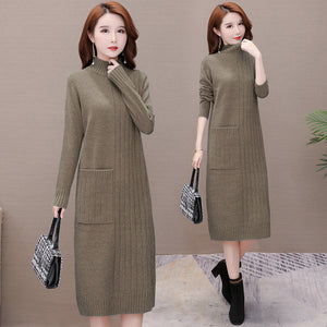 High-neck Fall and winter Wear Dress