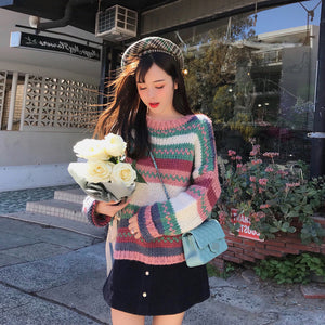 A32G Thick Wool Rainbow Warm Pullover