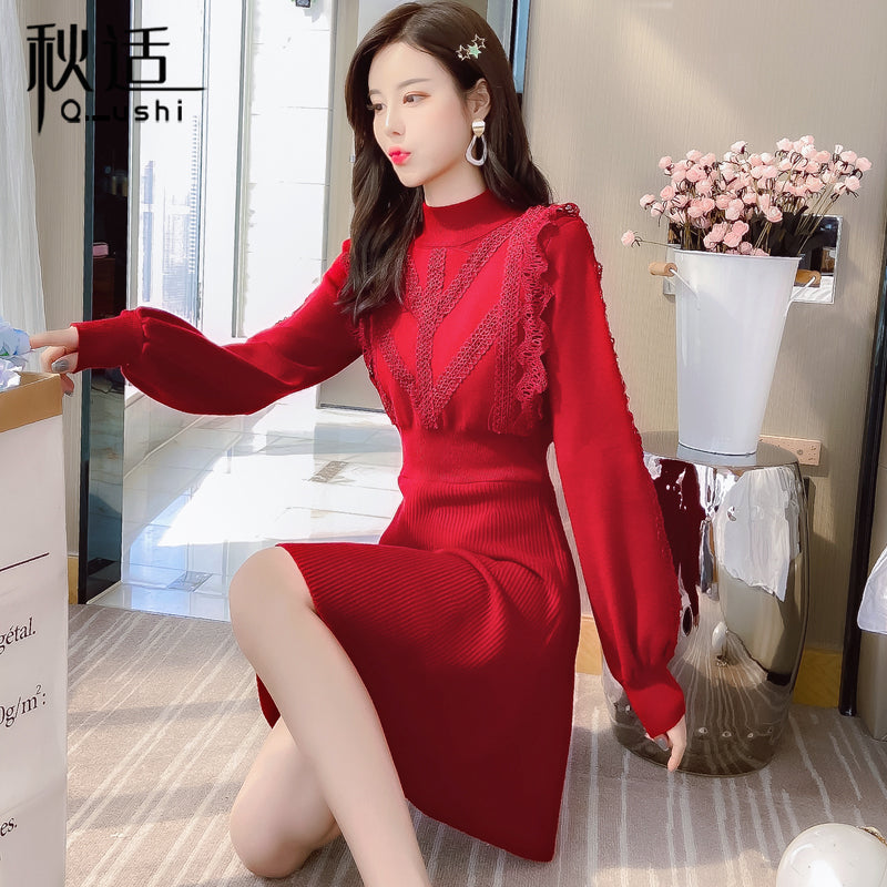 A17D Stitching Lace New Year Festive Dress
