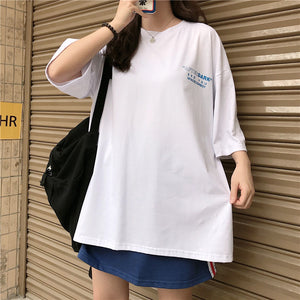 A37P Round Neck Mid-Length Loose Summer T-Shirt