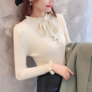 Cute Tie Ribbed Pullover-Cardigans-[korean fashion]-[korean clothing]-[korean style]-SOO・JIN