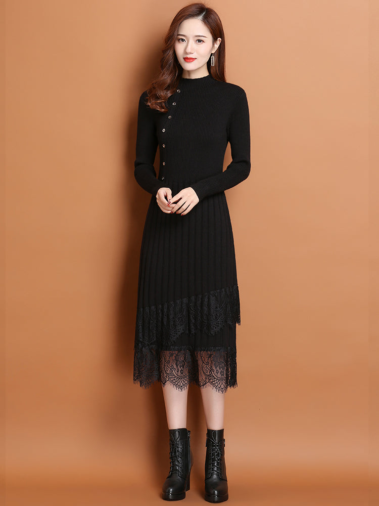 A20P Half-high Collar New Lace  Dress
