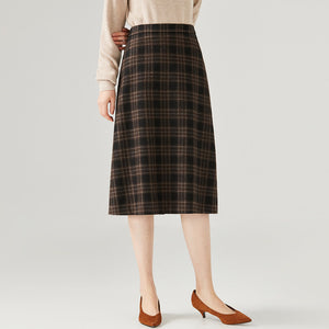 Long Wool One-Step Skirt