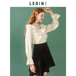 Lotus Leaf Collar Flounced Shirt