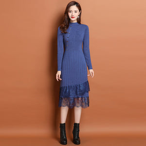 Half-high Collar New Lace  Dress