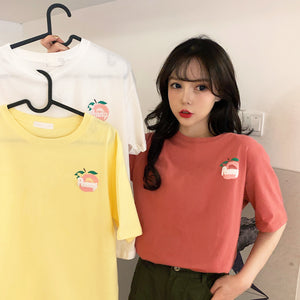 A35Q Girlish Apple Printing Short-sleeved T-shirt