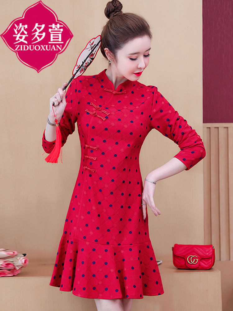 A20F Conventional Sleeve Colorful Mid-Length Dress Winter 2020