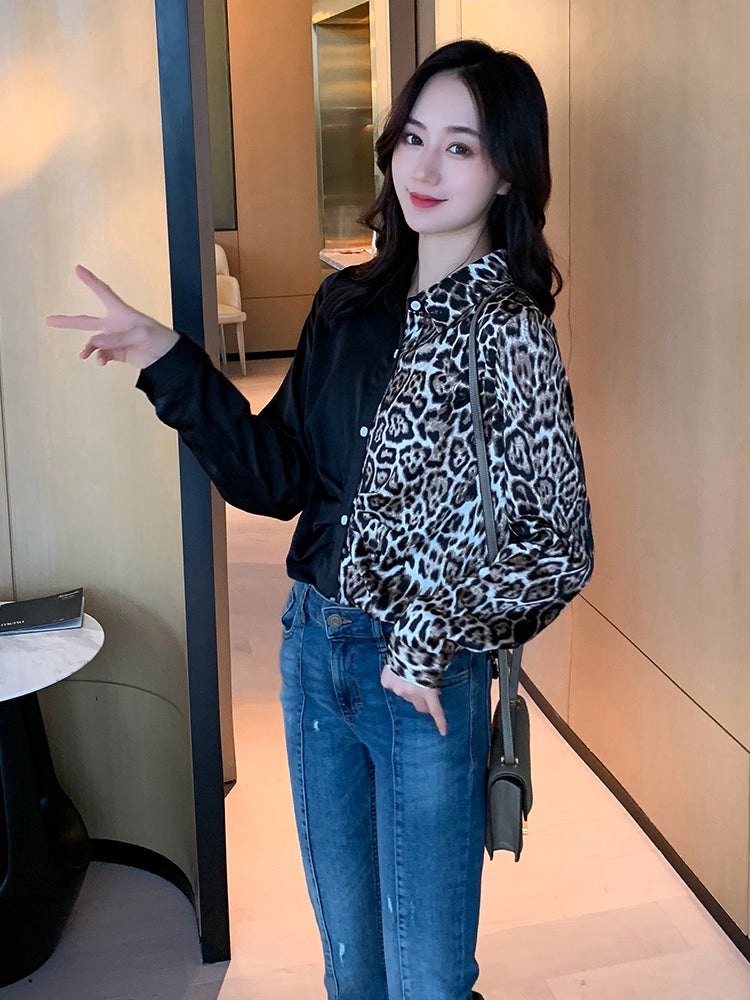 A26G Leopard Stitching Long Sleeved Top