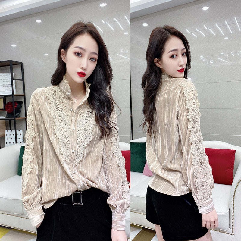 A14M  Lace Stitching Retro Feminine Shirt