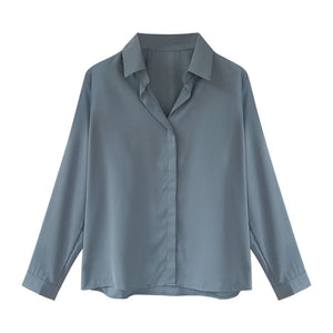 A27Y Loose Stand Collar Buttons Design Shirt