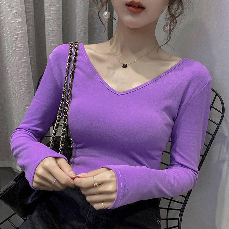 A38ZZZ Backless V-neck Foreign Bottoming Shirt
