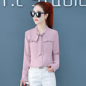 Casual Bow Knot Top-Blouses & Shirts-[korean fashion]-[korean clothing]-[korean style]-SOO・JIN