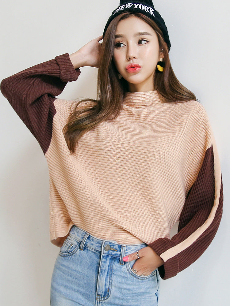 Brown Sleeve Pullover-Cardigans-[korean fashion]-[korean clothing]-[korean style]-SOO・JIN