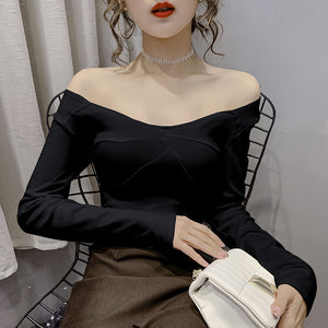 A34V Strapless One Shoulder Sexy Bottoming Shirt