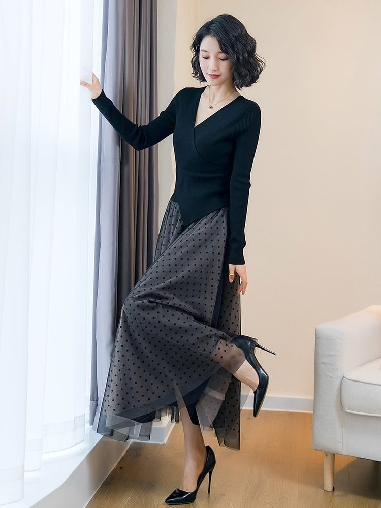 A16T New Style Knee-length knitted Dress