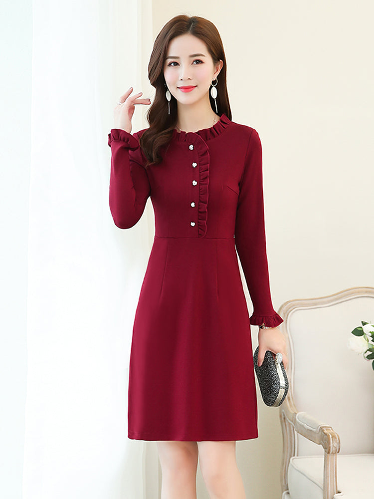 A19E Curly Collar Long Sleeve Dress