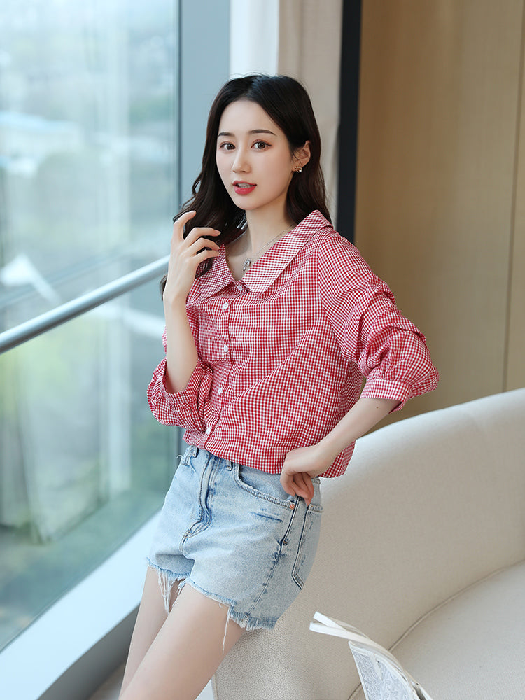 A24Z Summer Black Plaid Shirt