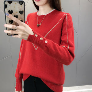 A12Y Lace Round-Neck Pullover