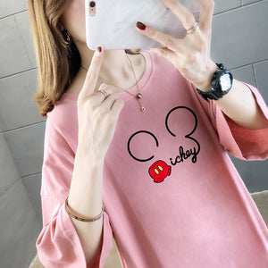 Short-sleeved Micky Ear Printing Loose T-Shirt