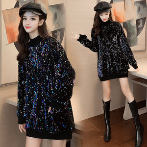 Mid-Length Thick Sequins Pullover