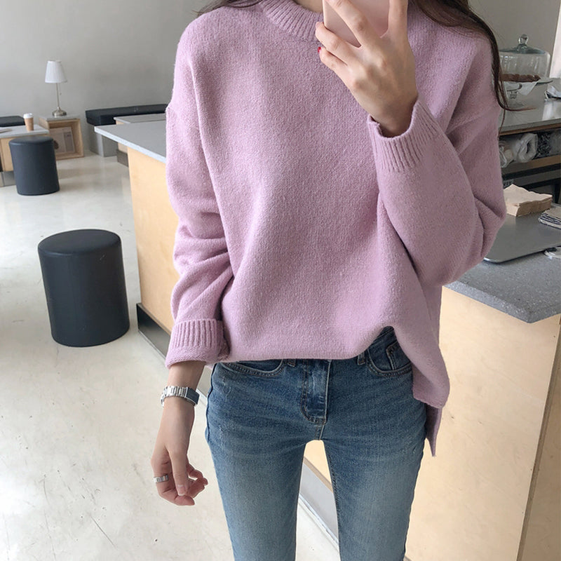 A35U Round Neck Feel Soft Thickened Sweater