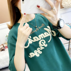 A36P Soft Fashion Letter Printing T-Shirt