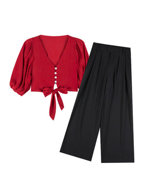Two-piece Black Trouser Red Top