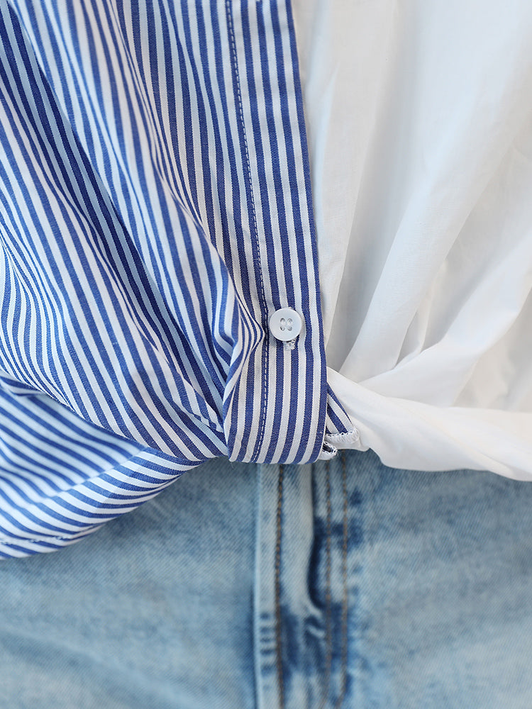 A25N Two Color Design Blue Striped Shirt