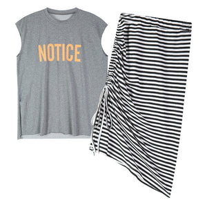 Notice Letter T-shirt Casual Two-piece Suit