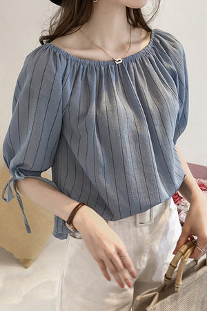 Ruffled Collar Summer Top-Blouses & Shirts-[korean fashion]-[korean clothing]-[korean style]-SOO・JIN