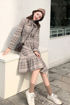 Playful Look Checkered Dress-Dresses-[korean fashion]-[korean clothing]-[korean style]-SOO・JIN