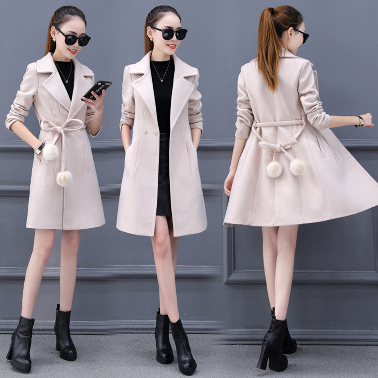 Pom Pom Trench-Jackets & Coats-[korean fashion]-[korean clothing]-[korean style]-SOO・JIN