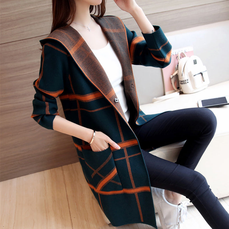 Striped Squares Hoodie Cardigan-Cardigans-[korean fashion]-[korean clothing]-[korean style]-SOO・JIN