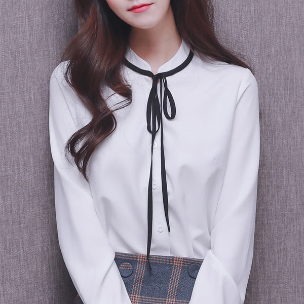 Preppy Tie Solid Blouse - korean clothing and fashion