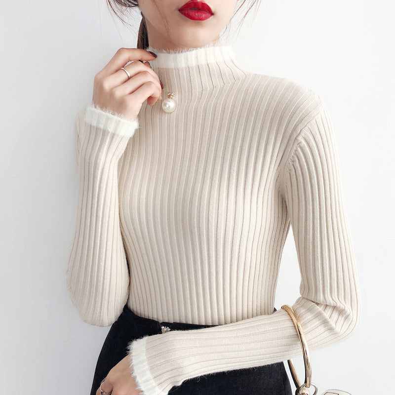 Half Turtleneck Ribbed Pullover-Blouses & Shirts-[korean fashion]-[korean clothing]-[korean style]-SOO・JIN