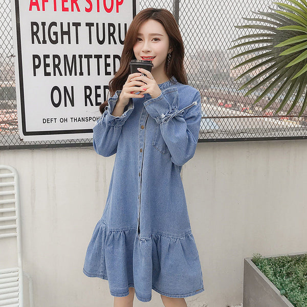 Flare Style Denim Dress