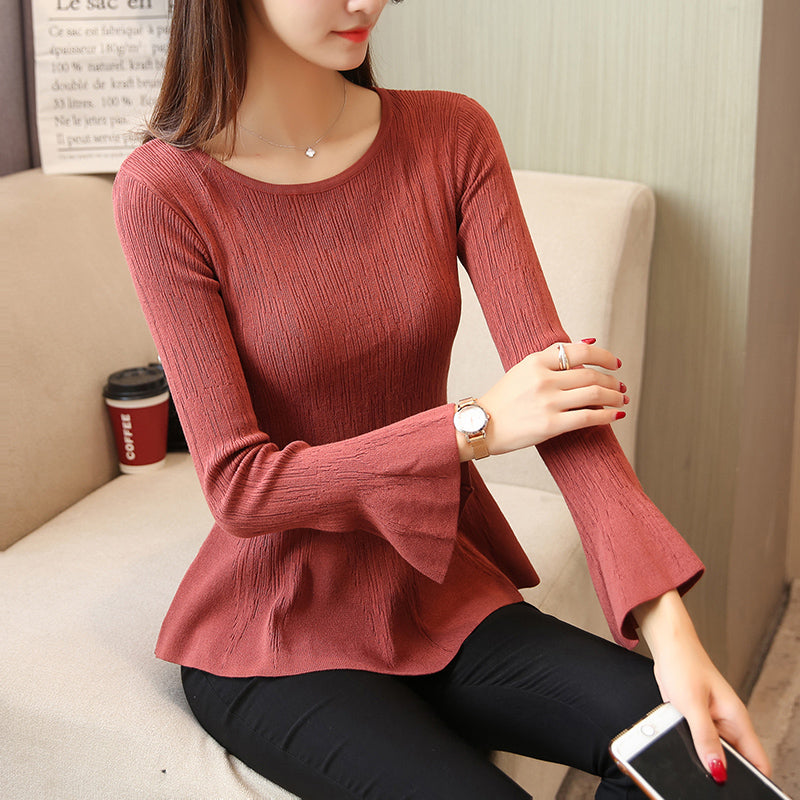 Trumpet Sleeve Top-Blouses & Shirts-[korean fashion]-[korean clothing]-[korean style]-SOO・JIN