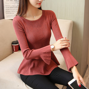 Trumpet Sleeve Top - korean clothing and fashion