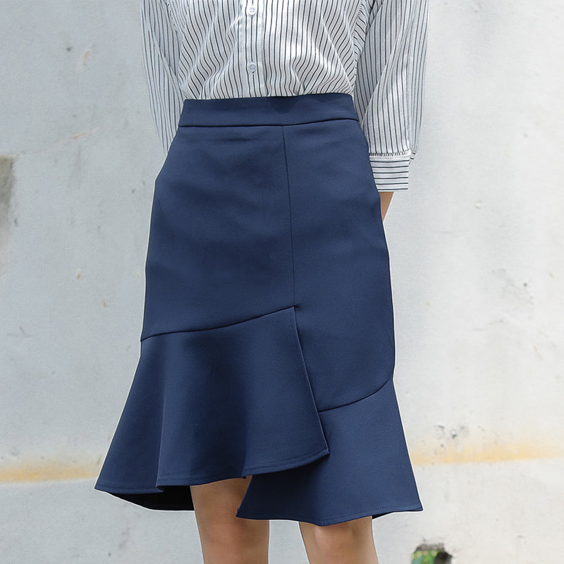 Solid Ruffle Midi Skirt-Bottoms-[korean fashion]-[korean clothing]-[korean style]-SOO・JIN