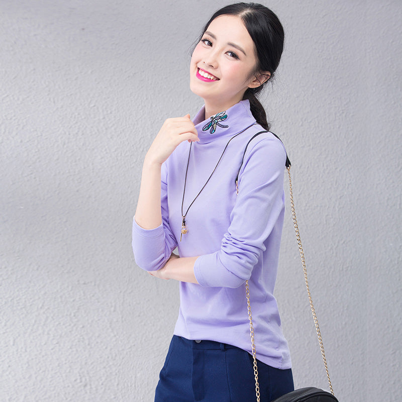 A12W Butterfly Embroidery High-Collar  Shirt