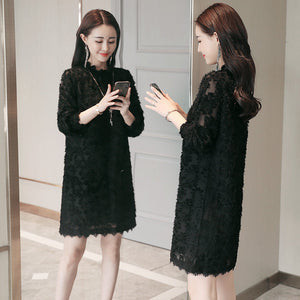 Flurry Texture Midi Dress-Dresses-[korean fashion]-[korean clothing]-[korean style]-SOO・JIN
